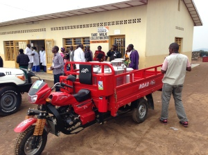 The pick-up motor bike for local milk collection.